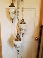 Swag Lamp Hanging Chain Light 3 Tier Chandelier Vintage Hollywood Regency Gold