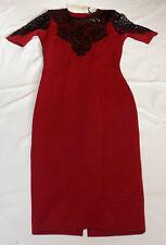 BNWT LYDIA BRIGHT @ LIPSTICK BOUTIQUE UK 8 EUR 36 RASPBERRY & BLACK LACE DRESS