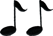 51009 Black Music Notes Band Classic Embroidered Sew Iron On Patches Set of 2