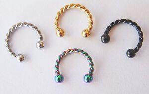 Fake Nose Lip Earring Helix Conch Hoop 8-10mm Horseshoe Fancy Pattern Bar Ring