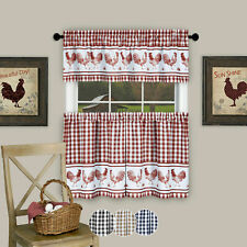 3PC Kitchen Curtain Set, Check Gingham Plaid Rooster, Tier Panels and Valance