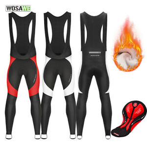 Winter Cycling Bib Tights Thermal Fleece Windproof Sports Warm Pants Bike Riding