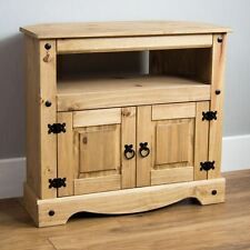 Corona Corner TV Unit Cabinet Mexican Solid Pine Wood Waxed Rustic Finish