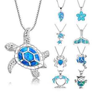 1PC Silver Filled Blue Opal Sea Turtle Cutout Pendant Women Necklace Beach Gift