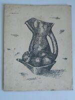 Litho Zeitgenössisch Stillleben Gerechtfertigt Signiert Datiert D.Boneaut 1958