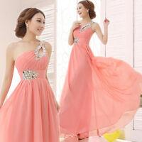 Elegant One shoulder Beaded Evening Dress Formal Prom Party Dress Chiffon Dresse