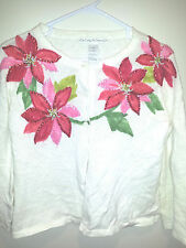 Vintage Tacky Ugly Christmas Sweater - Medium White Carly St. Claire w/ Measures