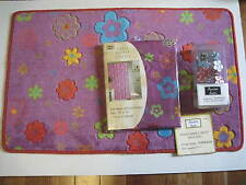Purple Red Blue Flower Power Shower Curtain Rug Hook Towels 18pc Bath Set NEW
