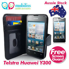 Huawei Ascend Y300 Black PU Leather TPU In Wallet Case Cover Screen Protector
