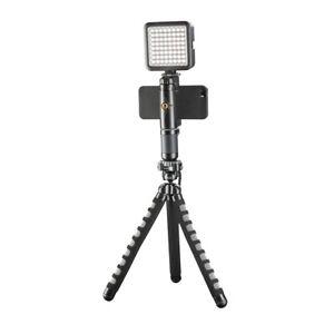 Mantona Movie Maker Starter Set: Smartphone Halterung, Flex Ministativ, Leuchte