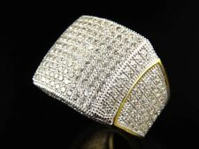 Mens Lab Diamond Cut Curved Fashion Wedding Pinky Ring In 14K Yellow Gold Finish