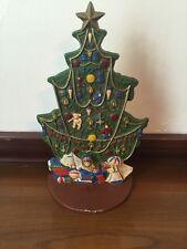 "Cast Iron Christmas Tree Door Stop Painted Green 12""h"