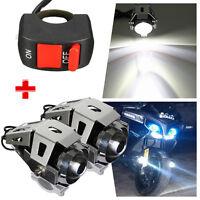 2X 125W FARETTO U5 LED MOTO LAMPADA FARO SUPPLEMENTARI + INTERRUTTORE CROMATO