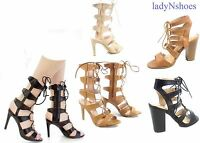 NEW Women's  Strap Lace Up Zipper Open Toe  High Heel Boots Sandal size 6 - 10