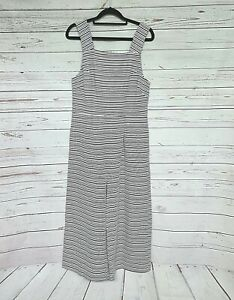 FEATHER & NOISE womens striped culotte jumpsuit size 8 NWOT grey white metallic