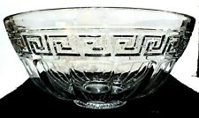 BEAUTIFUL ANTIQUE VINTAGE HEISEY ELEGANT GLASS GREEK KEY LARGE PUNCH BOWL