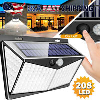 208 LED Solar Power Lights PIR Motion Sensor Wall Lamp Garden Waterproof Outdoor