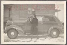Vintage Car Photo Pretty Girl & 1937 Plymouth w/ Radio Antenna on Top 715931