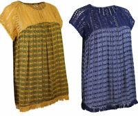 Womens Ladies Navy Mustard Short Sleeve Crochet Trim Boho Empire Top
