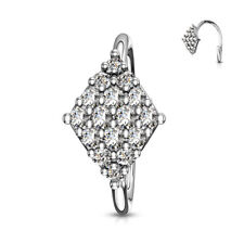 Gem Paved Diamond Shaped Bendable Nose Hoop / Cartilage Ring