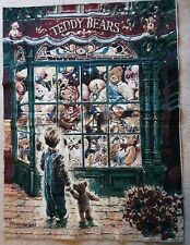 """Christmas Teddy Bears Tapestry Unfinished Wall Hanging Stewart Sherwood 36""""x 25"""""""