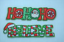 FATHER CHRISTMAS XMAS HOHOHO SANTA Embroidered Iron Sew On Cloth Patch APPLIQUE