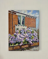"""Original Oil Painting """"Flowers In Front Of The House"""" On Canvas 30x40cm"""