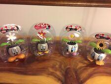 New Disney Spring Flower Solar Bobble Head Mickey Minnie Mouse Donald Daisy Duck