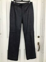 Dana Buchman  Woman's Navy 100% Lambskin Leather Pants Size 10, No Pockets.