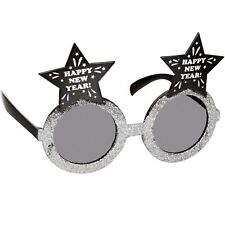 NOVELTY HAPPY NEW YEAR GLITTER  GLASSES SILVER OR GOLD FANCY DRESS ACCESSORIES
