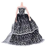 Nero Wedding Dress Princess Giocattoli per bambini per Barbi con fiore bianco CR