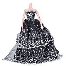 1 Pcs Black Wedding Dress Princess Kids Toys For Barbi with White Flower Decor W