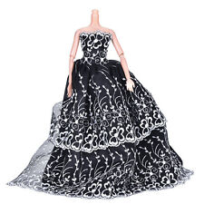 1x Black Wedding Dress Princess Kids Toys For Barbi with White Flower Decor JB