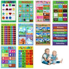 Educational Poster for Preschool Classroom Wall Chart for Children Kids 10 Pack