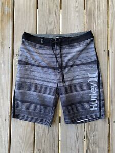 Hurley Phantom Men Size 29 Black/Gray Striped Swim Trunks Lace Up