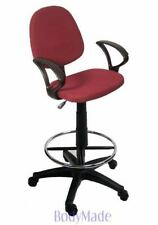 New Drafting Chair Stool w Arms Burgundy Fabric Office