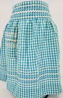 """Vintage Gingham Blue/White Checkered Apron 19 x 16 with 28"""" Ties"""