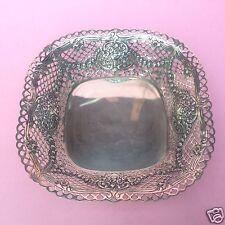 Biedermeier quadr. 800er Silber Schale Zierschale Bouquet Rosen-Girlanden ~1900