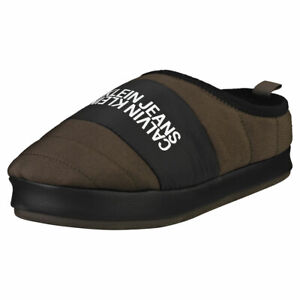 Calvin Klein Home Shoe Slipper Mens Black Olive Slippers Shoes - 10 US