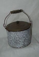 Vintage Large Agate Graniteware Enamel Berry Bucket Lunch Pail Tin Lid