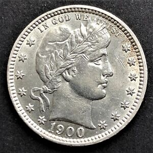 USA/ Quarter Dollar 1900/ Barber/ KM.114/ Excellent Condition/ SILVER COIN