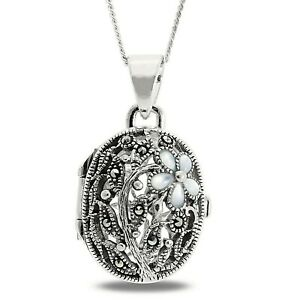 """Sterling Silver Large Oval Heavy Victorian Antique Floral Locket 18"""" Chain Gift"""