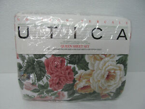 UTICA Isabella Multi Floral Queen Sheet Set 4 Two Pillowcases One Flat Sheet
