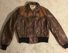 Schott USA Western Brown Leather Jacket VINTAGE RARE Light Insulated Men's 42