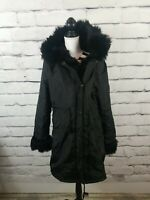 Aofur Women's Sz XL Winter Warm Coat Hoodie Parkas Overcoat Outwear Jacket Black