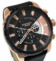 BRAND NEW DIESEL DZ4347 STRONGHOLD ROSE GOLD BLACK LEATHER CHRONO MEN'S WATCH