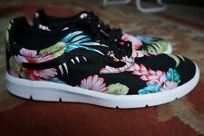 VANS Hawaiian Floral Print UK 8.5 Trainers, Hipster Gym Yoga Skool Run Shoe, New