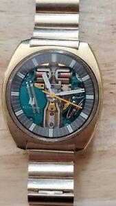 1970 Bulova Accutron SPACEVIEW 214 18K Gold Plate ORIG Crystal N Band Runs Sets