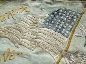 Vintage PATRIOTIC PILLOW COVER.  Hand Embroidery.  48 Star Flag.