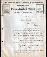"""MONTLUCON (03) Ets de TRAVAUX PUBLICS """"Pierre DELAGE Fils ainé"""" en 1910"""